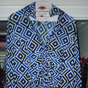 INC blue black white long sleeve blouse XL